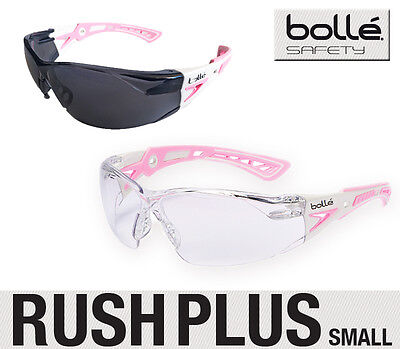 BOLLE RUSH PLUS Safety Glasses * Small * Pink and White Frame * Clear/Smoke Lens
