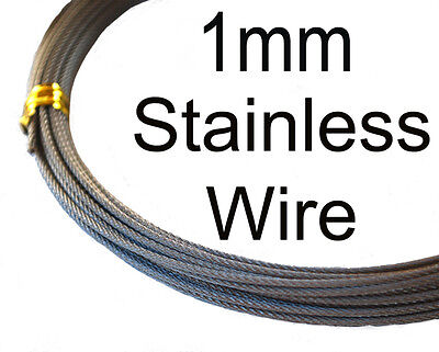 1mm 98kg 49 Strand Stainless Fishing Wire. 10m. 316 grade. Flexible. FAST POST