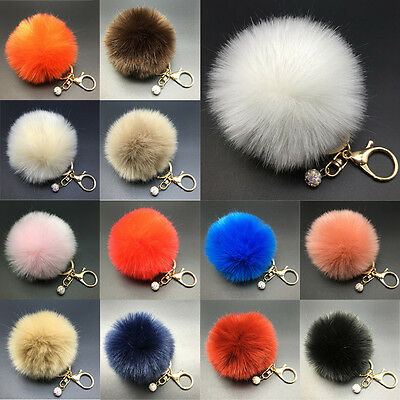 Soft Rabbit Fluffy Fur Pearl Ball Pom Phone Pendant Handbag Key Chain Ring TY