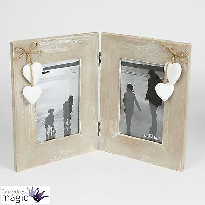 Sass & Belle Ashley Farmhouse Double Standing Rectangle Photo Frame Heart Home