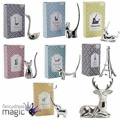 Silver Plated Jewellery Ring Holder Display Organiser Unicorn Cat Dog Elephant