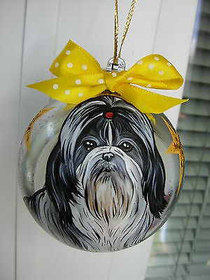Shih Tzu  Handpainted Christmas Ball Ornament -01