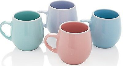 Stunning Set of 4 Pastel Colours Porcelain Extra Large Coffee Soup Mugs