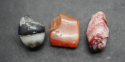 Three Ancient Egyptian Carnelian Carved And Polished Beads, Middle Kingdom,