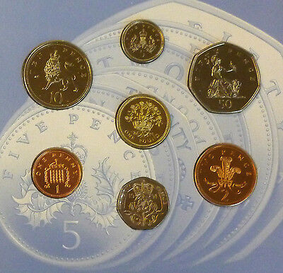 1991 Uncirculated UK coin Year set BU 7-coin Sealed Royal Mint pack