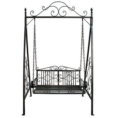 Charles Bentley Wrought Iron Swing Seat Outdoor Patio Garden Hammock Bench -Grey