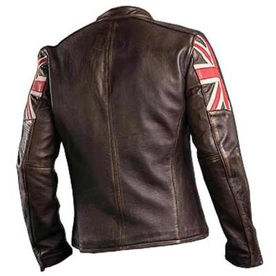 UK Flag Men's Biker Vintage Style Motorcycle  Cafe Racer Leather Jacket-BNWT