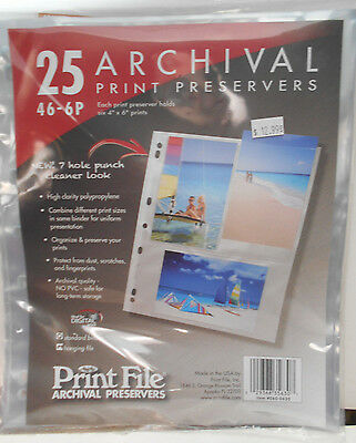Print File Print Preservers 46-6P Holds 4 x 6 Six Prints to a Page (25 pages)