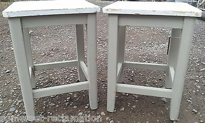 Reclaimed Pair Of Old Shabby Chic Painted Pine Stools