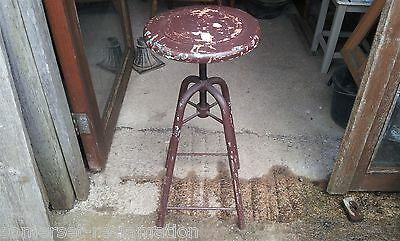 Reclaimed Old Industrial Adjustable Metal Stool