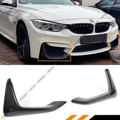 2 Pc Carbon Fiber Front Bumper Splitters Lip For 2015-2018 Bmw F80 M3 F82 F83 M4