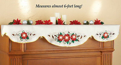 Mantel Scarf Poinsettia Christmas Holiday Fireplace Red Cream Gold