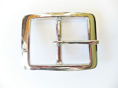 "Strong 1.5"" [38 mm] NICKEL Plated BRASS Full Rectangle Belt Buckle Leather craft"