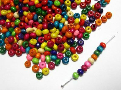200 Wooden 3 x 4mm Mixed Colour Coloured Beads Craft Jewelry Kids Round Beading