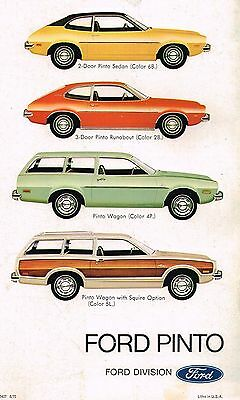 1973 Ford PINTO Catalog / Brochure w/ Spec's: RUNABOUT,Station Wagon,SQUIRE,