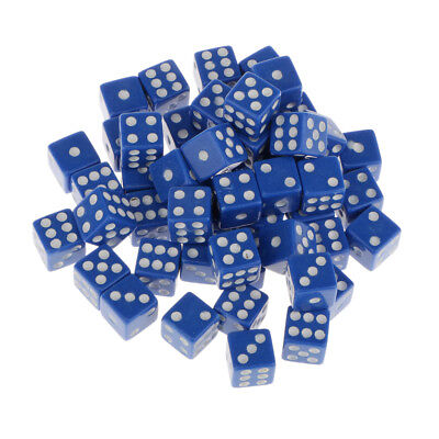 12mm 50Pcs Opaque Six Sided Spot Dice Games D6 RPG Playing Toys Blue