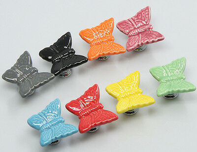 Ceramic Door Knobs. Butterflies. 7 Beautiful Colours Available. Drawer Pulls