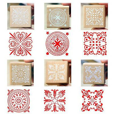 1* Square Wooden Retro Rubber Seal Stamp Craft Set Flower Lace Pattern Round