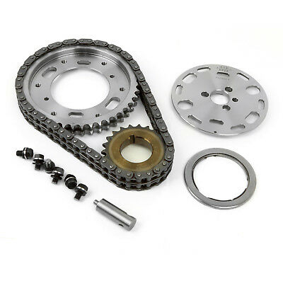 Chevy SBC 350 Double Roller 2pc Adj Billet Steel Timing Chain Kit