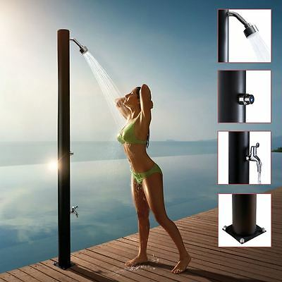 110mm(w) x 2100mm(h) Black Outdoor Shower Pole - Chrome Shower Head, Timer & Tap