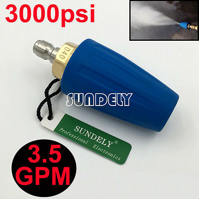 """3.5 GPM Blue 1/4"""" Quick Connect High Pressure Washer Turbo Nozzle Tip 3000PSI"""