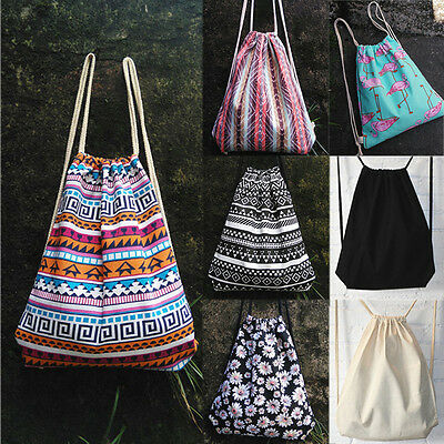 String Drawstring Backpack Cinch Sack Gym Tote Bag Canvas School Sport Pack New