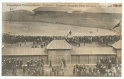 POSTCARD-SCOTLAND-GLASGOW. International Football Match, Hampden Park 1908.
