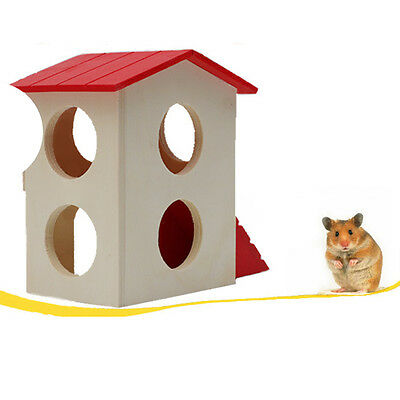 Pet Rat Hamster Mouse Natural Wooden Funny Climbing Ladder House Cage Nest Toy