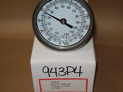 """Thermometer 3"""" Face 4"""" Stem 0-250 Degree F/C 1/2 Npt Back Home Brewing <943P4"""