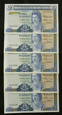 Gibraltar £10 Ten Pounds Banknote 1986 Unc From Consecutive Mint Run ( P226 )