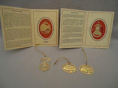 5 Colonial Williamsburg Christmas Ornament GoldFinish Metal Windmill Hat Bell +