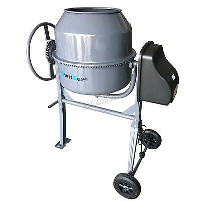 Switzer Electric Cement Mixer – Portable Mortar Plaster Concrete Drum 650W 180L