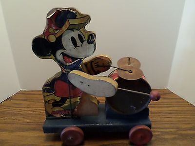 1938 Fisher Price Mickey Mouse #795 Drummer Pull Toy