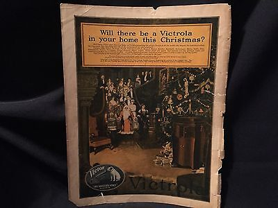 """OLD MAGAZINE PRINT AD VICTROLA FOR CHRISTMAS """"HIS MASTERS VOICE"""" c. 1920"""