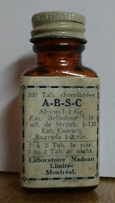 VINTAGE A-B-S-C Medicine Bottle Laboratoire Nadeua Montreal Poison Screw Top