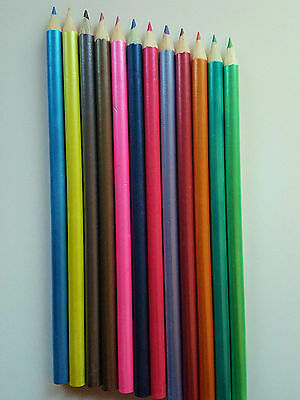12 Coloured Pencils Drawing Sketching Tone Shades Art Artist Picture -Metallic