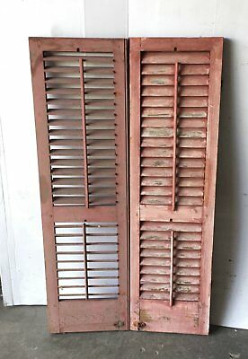 Pair Vtg House Window Wood Louvered Shutter Shabby Old Chic 15x51 1087-16