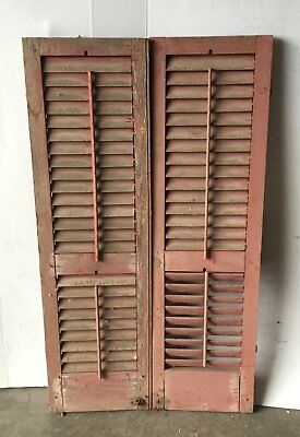 Pair Vtg House Window Wood Louvered Shutter Shabby Old Chic 15x51 1089-16