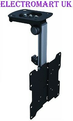 "Lcd Tv Television Ceiling Or Under Cabinet Flip Down Bracket Black 17"" - 37"""