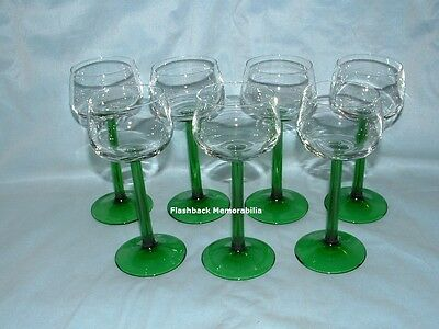 "7 Vintage 'LUMINARC' Green WINE GLASS France GOBLET Stemmed 6.25"" CRYSTAL Retro"