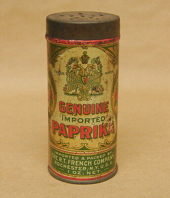 Antique Vtg French's Genuine Imported Paprika R.T. French Company 1 oz Tin