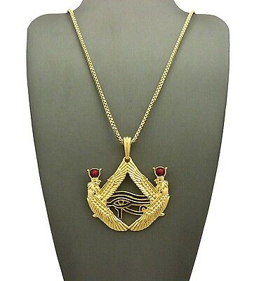 "Egypt Red Stone Eye of Horus Pendant 24"" Various Hip Hop Chain Necklace XTP57G"