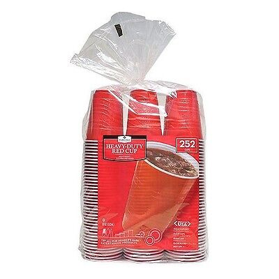 Heavy Duty Red Plastic Disposable Party 18 oz. Picnic Cups Cold Drink - 252 ct.