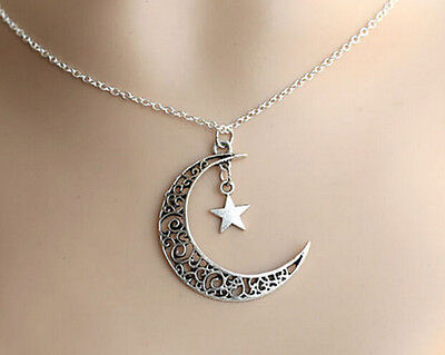 Plated Jewelry Chain Necklace Moon Hot Silver Pendant Crescent Star Choker Charm