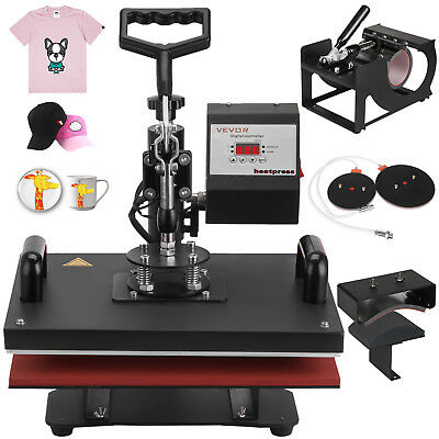 5 In 1 Digital Heat Press Machine Transfer Sublimation T-Shirt Mug Hat 15x12""