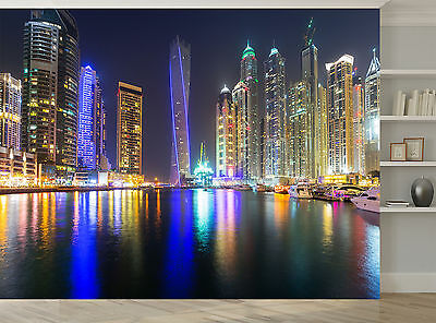 City Buildings Colours Lights Water Wall Mural Photo Wallpaper GIANT WALL DECOR