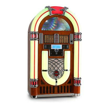 Original Retro Musikbox Ricatech Rr2100 Jukebox Aux Cd Ukw/mw Radiotuner Led Usb