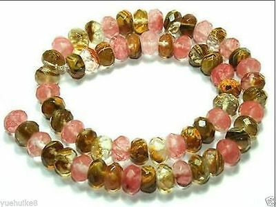5x8mm Faceted Watermelon Tourmaline Abacus Gemstone Loose Bead 15''