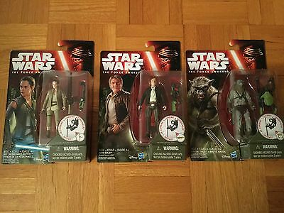 Star Wars The Force Awakens Figure (Rey(Resistance Outfit, Han Solo, Hassk Thug)