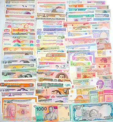 102 Different World Paper Money Collection, All Genuine and UNC, New Banknotes.